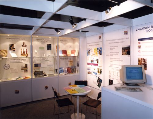 Photo of the inside of the expo booth with exhibits and charters