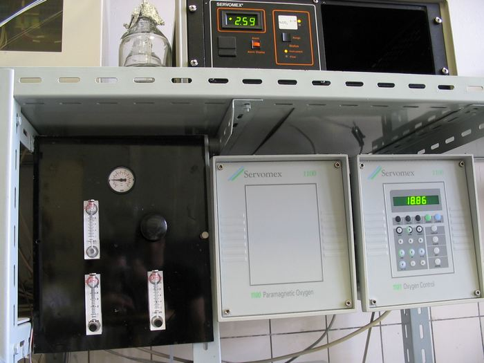 Paramagnetic analyzer CO2 Servomex 1100A (Servomex International Ltd., Great Britain) for off-gas analysis
