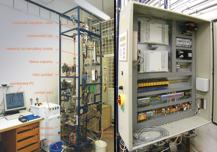 Photograph of the evaporator (left) and the switchboard with the control system (right)